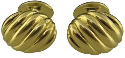 David Yurman 18K Yellow Gold Cable Oval Cufflinks