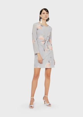 Emporio Armani Knotted, Silk Crepe-De-Chine Dress With Floral Watercolour Print
