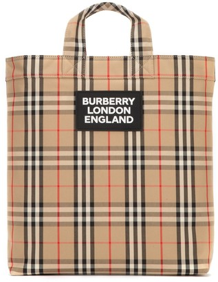 Burberry Logo Applique Vintage Check Tote Bag