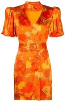 De La Vali floral-print belted-neck satin mini dress