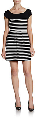 French Connection Striped Cutout Cotton Dress