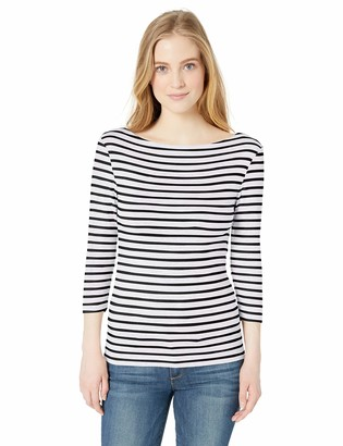 Amazon Essentials Women's Slim-Fit 3/4 Sleeve Patterned Boatneck T-Shirt