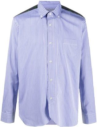 Junya Watanabe Stripe Print Contrast Yoke Shirt
