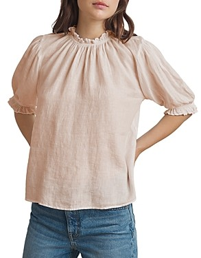 Velvet by Graham & Spencer Rosabel Ruffled Puff Sleeve Linen Top