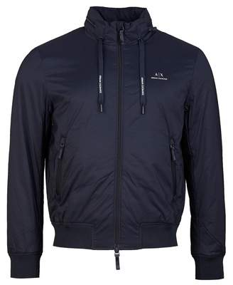 Armani Exchange Zip Through Chest Logo Jacket Colour: NAVY, Size: MEDI