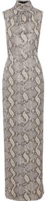Emilia Wickstead Georgina Metallic Snake-print Crepe Gown