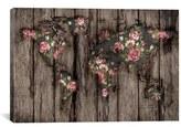 iCanvas 'Wood Flowers Mapamundi' Giclee Print Canvas Art