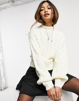 Monki Titti cable knit cropped sweater in cream