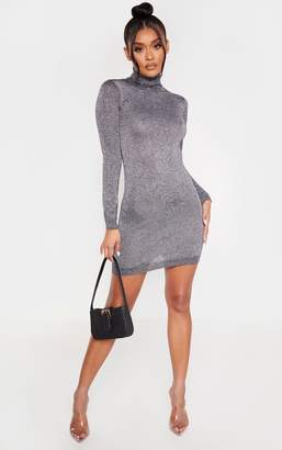 PrettyLittleThing Silver Glitter Roll Neck Jumper Dress
