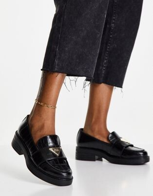 River Island branded chunky croc loafer shoe in black