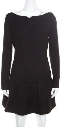 Victoria Victoria Beckham Black Textured Wool Drop Waist Dress M
