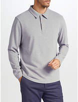 John Lewis Long Sleeve Peached Cotton Polo Shirt, Grey