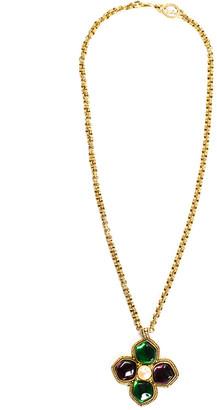 Saint Laurent Faux Pearl Green & Purple Glass Pendant Necklace