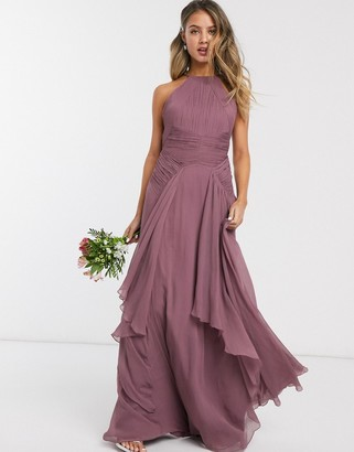 Asos Design DESIGN Bridesmaid pinny maxi dress with ruched bodice and layered skirt detail-Purple