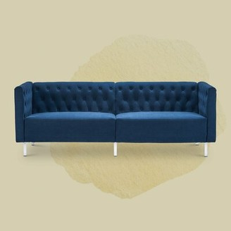 "Mercer41 Berryville Velvet 80.5"" Tuxedo Arm Sofa Fabric: Classic Blue"