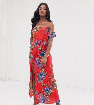Influence Tall off shoulder maxi dress in bold floral print-Red