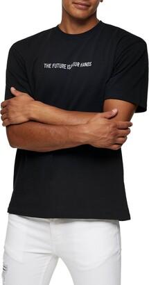 Topman Topmman The Future Embroidered Crewneck T-Shirt