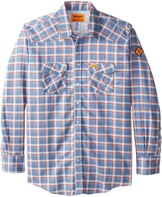 Wrangler Men's Big-Tall Flame Resistant Western Work Lightweight Blue Red Plaid Woven Shirt