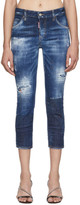DSQUARED2 Blue Denim Macchia Cool Girl Cropped Jeans