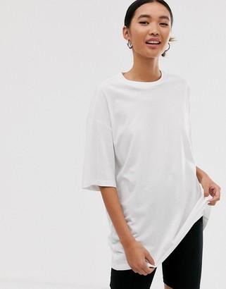 Monki oversized longline t-shirt in white