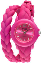 JCPenney TKO ORLOGI Womens Crystal-Accent Braided Pink Silicone Strap Wrap Watch