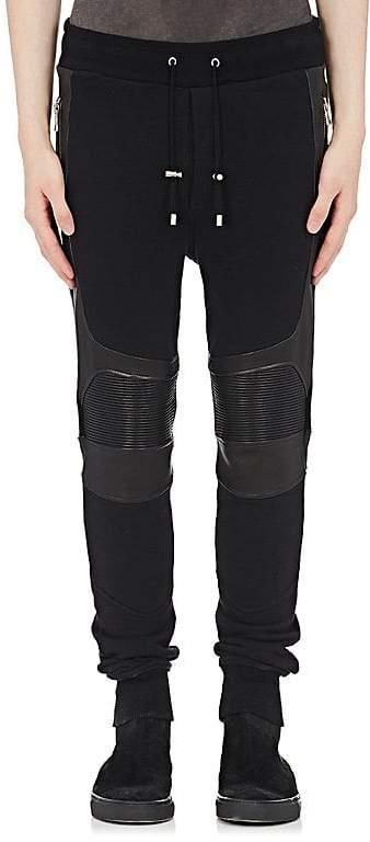 Balmain Men's Leather-Inset Cotton Jogger Pants