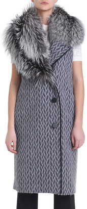 Fendi Fur-Collar Printed Wool Vest