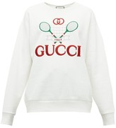Gucci Tennis Logo-embroidered Cotton-jersey Sweatshirt - Womens - Ivory Multi