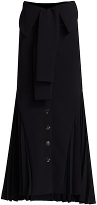 A.W.A.K.E. Mode Button Front Side Pleat Maxi Skirt