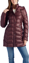 Laundry by Shelli Segal Winter Wine Hooded Puffer Coat
