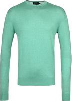 Hackett Spring Green Cotton Silk Cashmere Crew Neck Sweater