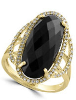 Effy Eclipse Diamond, Onyx & 14K Yellow Gold Ring