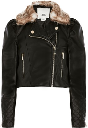 River Island Girls Black puff sleeve biker jacket