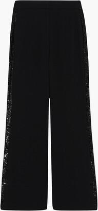 Diane von Furstenberg Shane Sequined Mesh-trimmed Crepe Wide-leg Pants