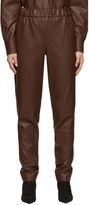 Tibi Brown Faux-Leather Pull-On Trousers