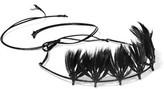 Valentino Feather And Bead-Embellished Headband