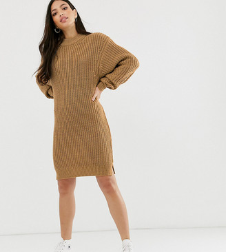 Asos Tall DESIGN Tall knitted rib mini dress with chunky crew neck-Stone