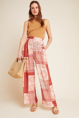 Eva Franco Elena Patchwork Wide-Leg Pants By in Red Size 2