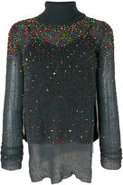 Aviu scattered bead roll neck jumper