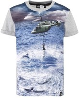 Molo Grey and Blue Helicopter Print Tee