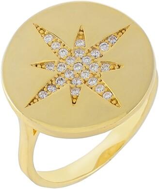 Adina's Jewels Pave Starburst Stamp Ring