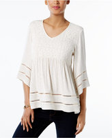 Style&Co. Style & Co Style & Co Petite Lace-Bodice Babydoll Top, Created for Macy's