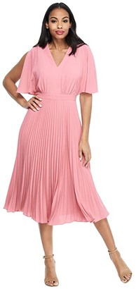 Maggy London Split Sleeve Pleated Skirt Dress (Rose) Women's Dress