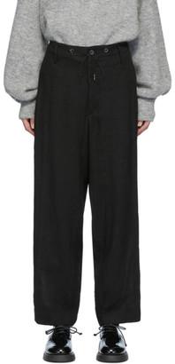 Fumito Ganryu Black Drawstring Linen Trousers