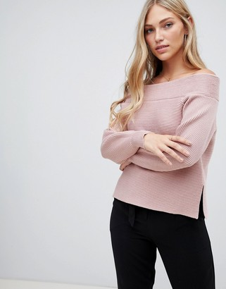 Forever New off shoulder rib jumper in blush-Pink