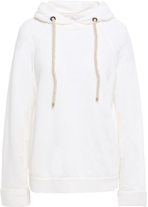Brunello Cucinelli Bead-embellished French Linen And Cotton-blend Terry Hoodie