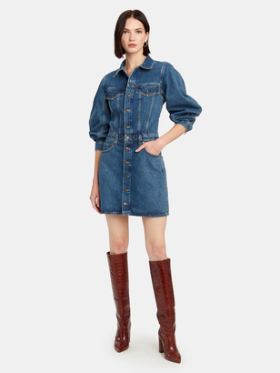 AGOLDE Balloon Sleeve Denim Mini Dress