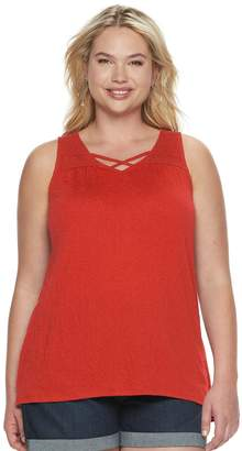Sonoma Goods For Life Plus Size SONOMA Goods for Life Lace Yoke Sleeveless Top