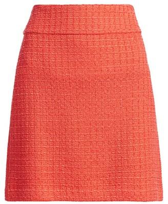 St. John Windowpane Knit A-Line Skirt