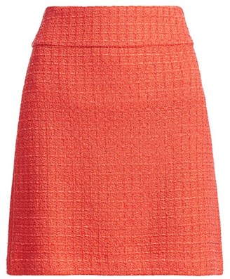 St. John Windowpane Knit A-Line Skirt